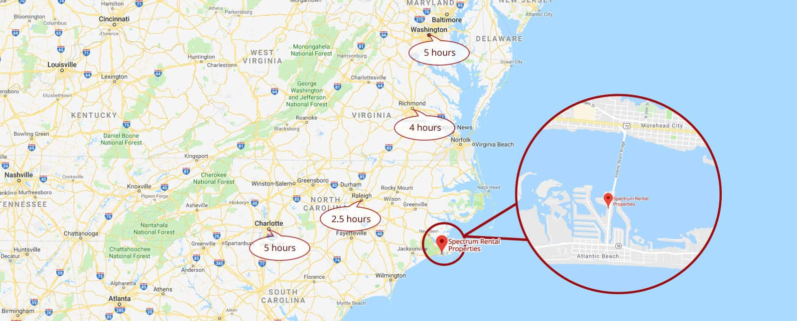 Crystal Coast Vacation Rentals Close to Major East Coast Cities