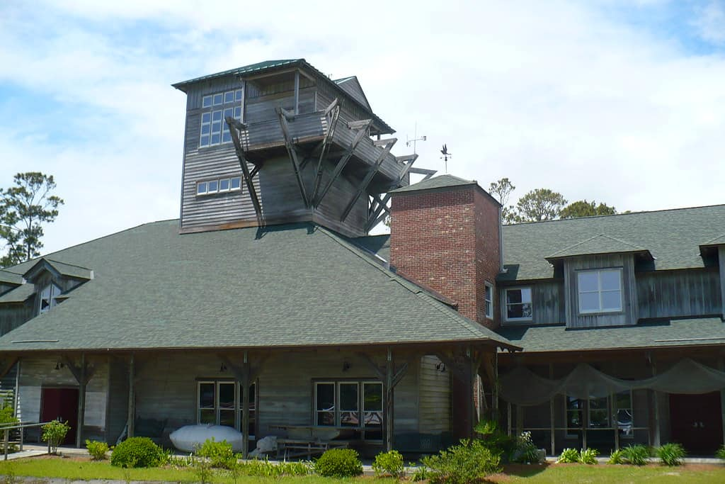 Core Sound Waterfowl Museum outside view of the building in Harkers Island in NC.