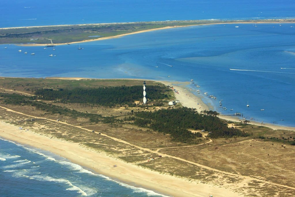 Aerial view of Cape Lookout Lighthouse in Beaufort, NC